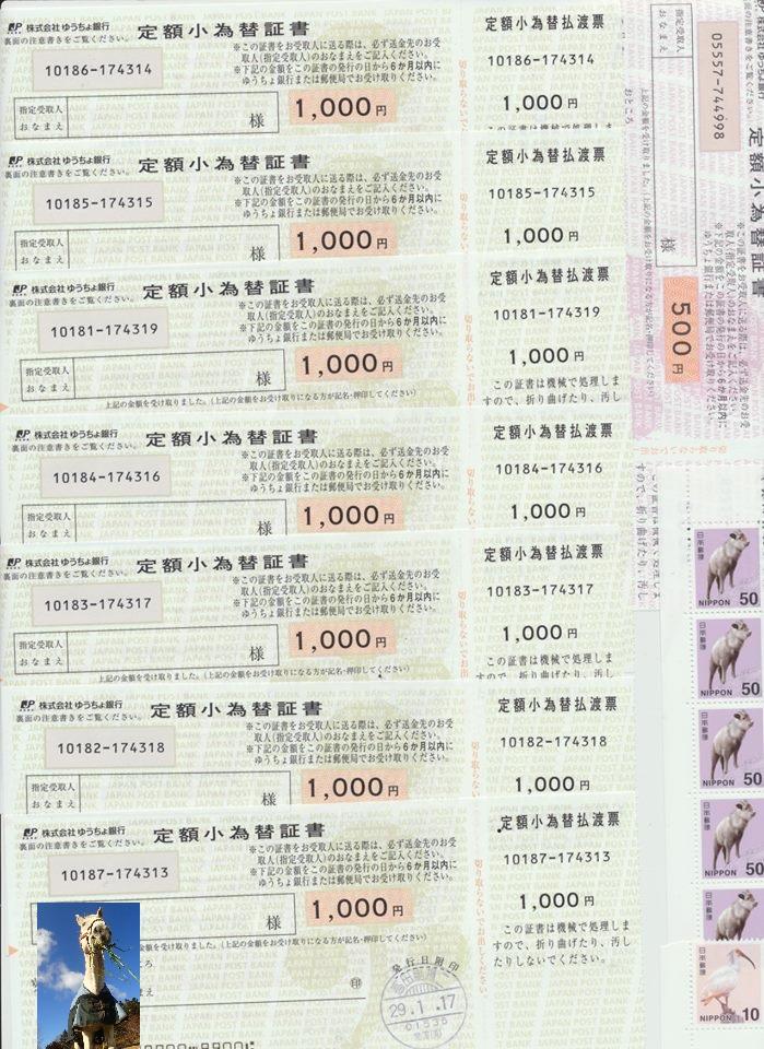 ご支援いただいた7,760円分の小為替と切手